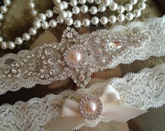 Wedding Garter-Garter-Bridal garter-SALE-Ivory Lace-Rhinestone-Applique-Blush-Pink-Teal-Blue-Pink-Purple-Ivory-Vintage Garter-Stretch lace