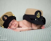 Original Design Crochet US Navy Chief Hat, US Navy Cover, Military Hat, Photography prop --- Made to order