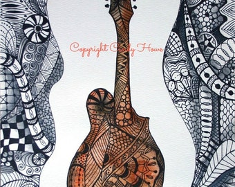 Digital art, mandolin, Zentangle art, musical, instruments, acoustic instrument, mandolin art, digital