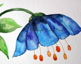 Digital art, digital download, blue flower, floral, flowers, fantasy flower, digital download,