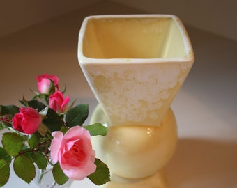 Vintage 1930s  Brush McCoy Geometric Art Pottery Vase In Canary Yellow 704