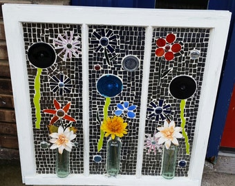 30W X 29H Stained Glass Mosaic window with 3 old COKE bottle vases