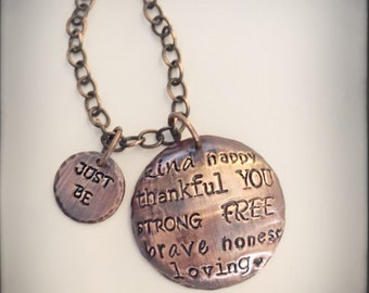 SALE Solid copper hand stamped Just Be necklace