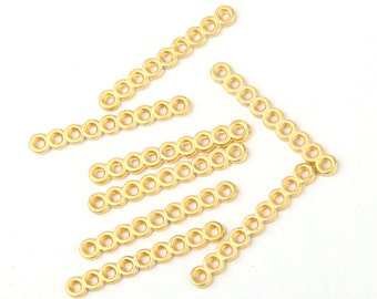Gold Plated Strand Separators, 9-Hole Spacer Bar, 8 pieces // GFND-083