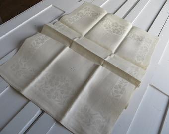 Free Shipping Towel  Antique  Art Deco Huck Linen Floral  Motif Kitchen Runner  Monogram HR  Dish Cloth/ Napkin   Wrap  Bath Cloth  Torchons