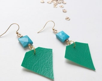 kryptonite emerald earrings / vintage vinyl / sleeping beauty turquoise / upcycled jewelry / geometric diamonds
