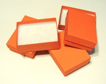 20 Orange Calypso Cotton Filled Jewelry Presentation Gift Boxes size 3.25 x 2.25 , Non tarnishing Cotton filled Bright Orange Ring Boxes