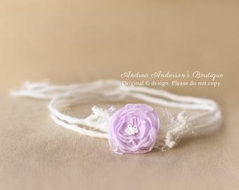 Newborn Flower Tieback. Baby Tieback. Girls Tieback. Newborn Baby Girls Dainty Mauve Chiffon Rose Halo Tie back. Photography Prop. UK SELLER