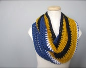 Crochet Blue, White, Navy, and Gold, NHL, NFL St. Louis Blues, Buffalo Sabres Hockey Football, Infinity Scarf, Men's Scarf, Unisex Scarf