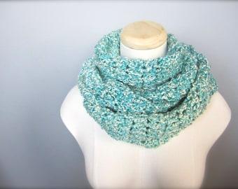 Crochet Aqua Blue, Light Blue, White, Blue Green Handmade Infinity Scarf, Women's Scarf, Men's Scarf, Unisex Scarf