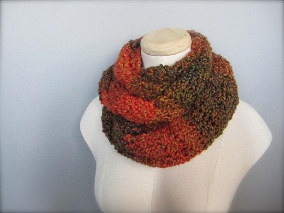Crochet Rusty Orange, Brown, Pumpkin Orange, Milk Chocolate Brown, Earth Tone Infinity Scarf, Women's Scarf, Men's Scarf, Unisex Scarf