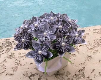 Origami Paper Flower Bouquet Grey / wedding decorations, paper flowers, origami, kusudama, origami flowers, paper bouquet, centerpiece