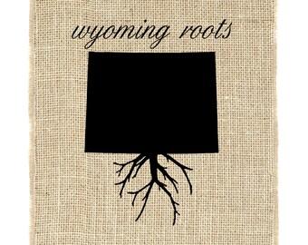 Wyoming Roots Unframed Burlap Art, Burlap Print, Wall Art, Burlap, State Roots