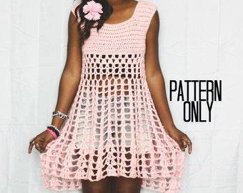 The Sugarstone Babydoll Boho Handmade Crochet Dress Pattern.  Instant Download. Crochet Pattern.
