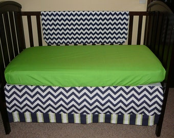 Navy Chevron with Lime Green Accent Crib Skirt 4-sided