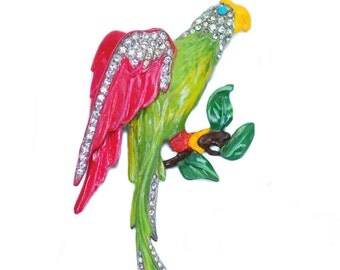 Enamel Rhinestone Bird Brooch 1940s Pin Parrot Macaw Jose Rodriguez