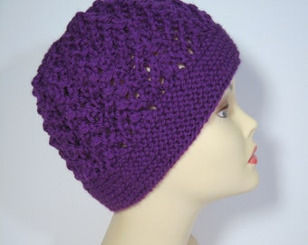 Womans hand knit Lace Hat in Purple Wool yarn