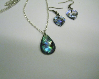 Abalone Earring and Necklace Set