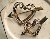 Heart and Arrow Romance Brooch, Goldfilled Valentine Hearts Twinset, Ornate 12k Gold Filled Signed Pair