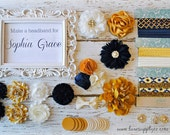 Navy, Ivory and Gold DIY Headband Making Kit - Baby Shower Headband Station - MAKES 10+ or 20+ Boutique Baby Girl HEADBANDS!