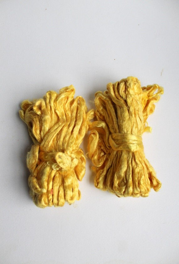 RESERVED 2 oz  Mulberry Silk Roving Fiber Top GOLDEN YELLOW