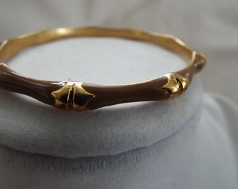 taupe brown on gold  bamboo relief  enamel bangle bracelet one of four