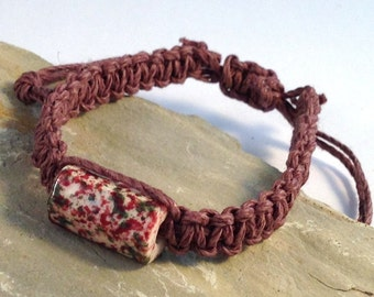 Hemp BRACELET Brown with Large Funky Ceramic Bead Handmade Friendship Surfer Casual