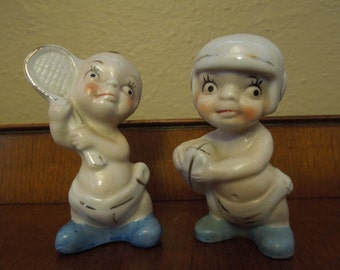 Collectible Porcelain Baby Boy Football Tennis Figurines