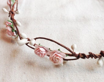 Tinkerbell's Woodland flower hair wreath (pale pink rose) - rustic nature vintage inspired crown with white berries