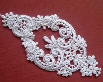 Victorian Elegant Venice Lace Applique, White, 3 x 5 1/2 inch, x 1, For Bridal, Apparel, Accessories, Decor, Romantic & Victorian Crafts