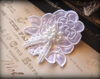 """Embellished Pearl Beaded Flower Applique, White, 3"""" x 3"""" inches, x 1, For Bridal, Romantic, Victorian Projects"""