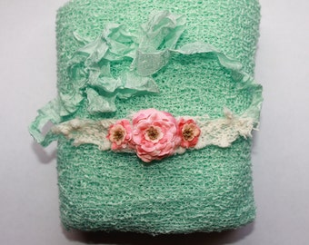 RTS Minty Aqua and Coral Photography Prop, Newborn Stretch Wrap and Headband, Newborn Photo Prop, Baby Girl Flower Headband