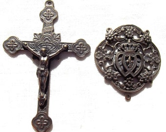 Catholic Rosary set with Many Crosses Crucifix and Centerpiece with Two Hearts, Fleur de Lis and Crown Center