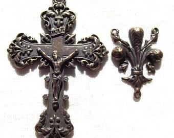 French Fleur de Lis Rosary Set Crucifix Centerpiece Center Fleur de Lys VP1179/1118