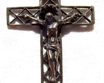 Crucifix with Open Latticework and Halo Rosary Supply Part