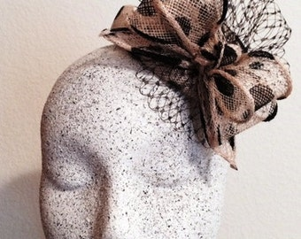 Black & Ivory Mini Dome Hat with Birdcage and Bow Feature