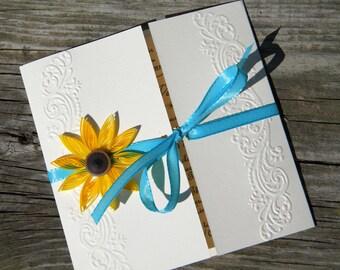 Sunflower  wedding invitation / Sunflower and blue invitation
