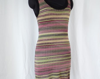 Vintage Missoni crochet tank dress with matching slip/ citron yellow magenta black pink grey iconic ribbon stripes: size 44= US 6-8