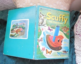 Giant Scuffy the Tug Boat Golden Book 1974,Vintage Children book,Antique Children's Book,Golden Books,