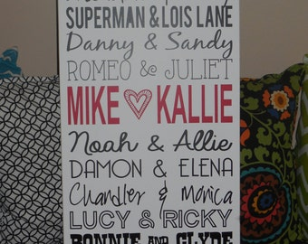 Personalized famous couples sign | Gift | Engagement Gift | Couples Sign | Wedding Gift | Anniversary Gift | Wood Sign | Famous Couples