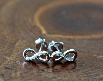 Infinity Earrings, Sterling Silver, CZ Earrings, Unity and Love Jewelry
