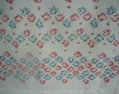 """Vintage """"Dan River"""" Bed Sheet, Full/Double Bed Size, Flat Sheet, Wide Border Print, Pink and Blue Roses"""