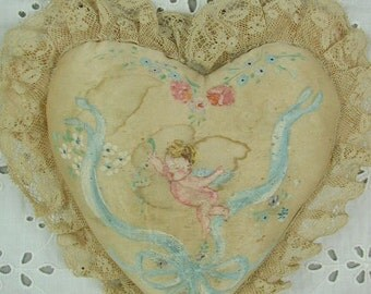 Very Vintage Heart Shape Sachet Pincushion, Collectible, 1940's, Hand Painted Cupid, Ribbons, Flowers, Satin