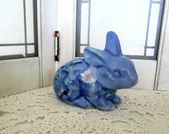 Blue and White Bunny Rabbit Vintage, Easter Decor, Chintz Porcelain Decor