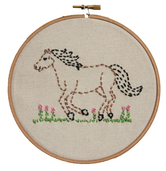 Embroidery kit little horsey beginner sewing by