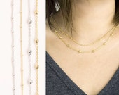 Satellite Dotted Dew Drop Necklace, Gold / Silver, Long / Short Layering Jewelry, LJ