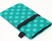 Teal iPhone 5 6 Plus Wallet, Smartphone Sleeve, Cell Phone Case, Samsung 5 Cover, Padded HTC Case, Nokia Lumia Bag  - cute teal dots