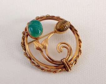 Vintage Rolyn Inc Circle Brooch - 12 Carat Gold Filled Brooch with Scarab Gemstones - Flowery Pin in Gold, Green and Brown