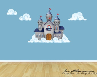 Wall Decal, Castle and Cloud Wall Sticker, Castle Wall Art, Wall Sticker
