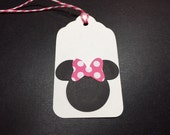10 Minnie Mouse Gift Tags/Hang Tags/Embellishments w/Hot Pink & White Polka dot bows No. 134